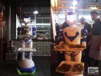 惊鸿机器人在山东菏泽火锅店为顾客送餐